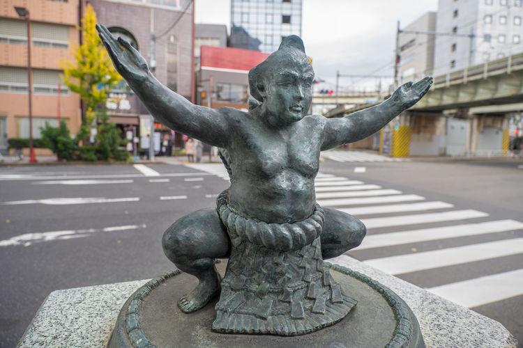 Art And Craft City Japan Outdoors Sculpture Statue Sumo Sumowrestler