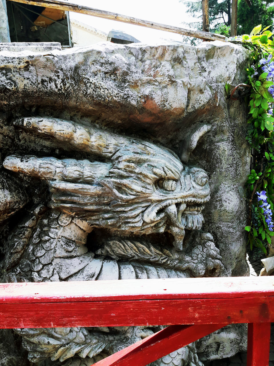 art and craft, sculpture, statue, human representation, day, no people, outdoors, dragon, close-up