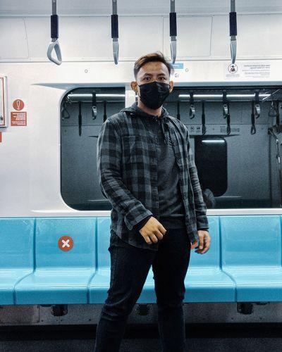 Full length of man standing in train