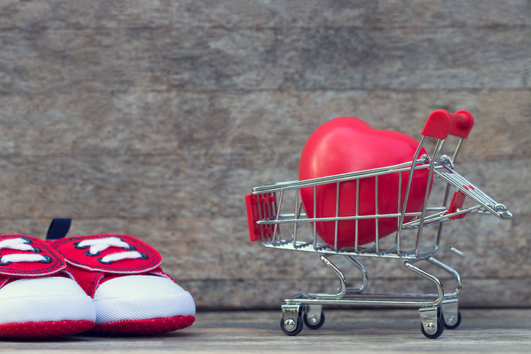 Love Bag Basket Celebration Close-up Consumerism Empty Focus On Foreground Food Food And Drink Gift Groceries Holiday - Event Indoors  Metal No People Red Retail  Shopping Shopping Cart Still Life Supermarket Wall - Building Feature Wheel