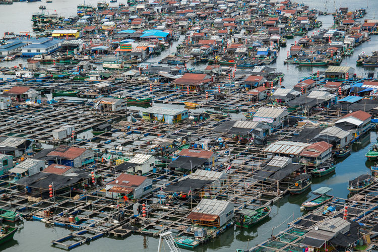 High Angle View Of Fishing Village