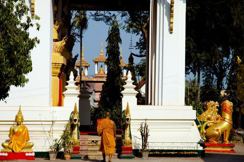 Pha That Luang Buddhist Vientiane Laos Monk  Pha That Luang