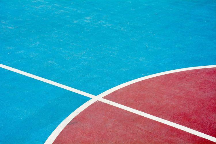 High angle view basketball court