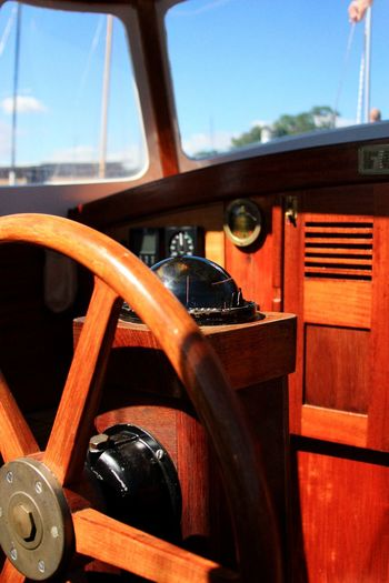 Steering Wheel Retro Styled Old-fashioned Gear Transportation Day No People Close-up Nautical Equipment Nautical Theme Sailing Compass Boat Deck Wooden Interior Low Angle View Sailboat EyeEm Selects EyeEm Best Shots Yacht Sailing Ship Wood Paneling Wooden Boat Brown Red Luxury