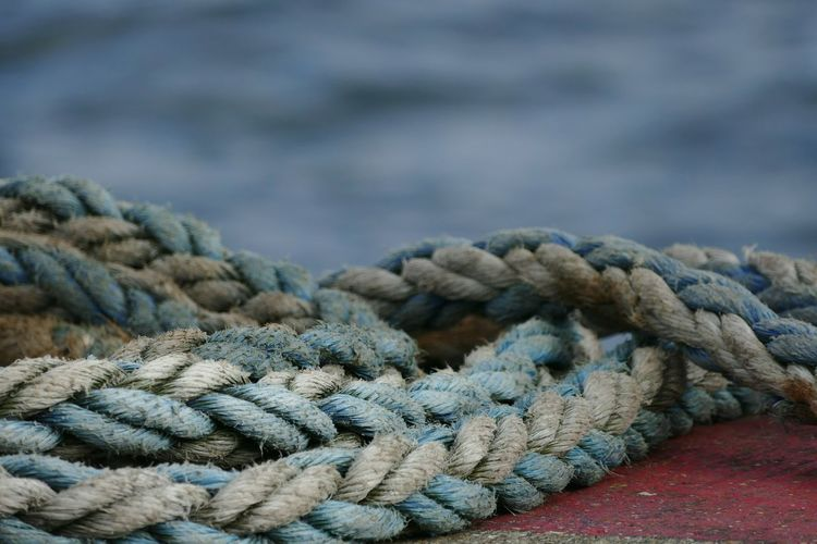 Close-up of rope on retaining wall