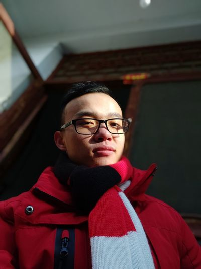 Warm Clothing Portrait Eyeglasses  Looking At Camera Red Winter Men Confidence  Headshot Sweater