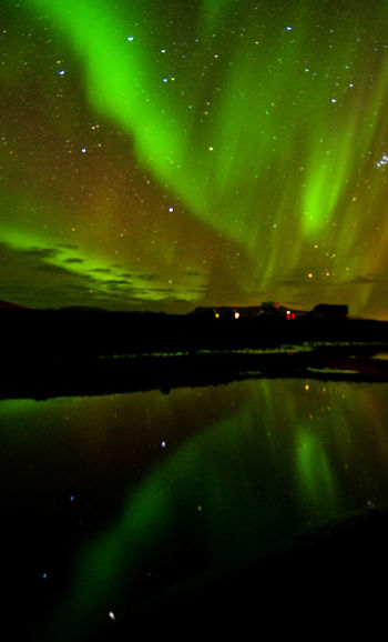 Night Beauty In Nature Scenics - Nature Sky Space Star - Space Astronomy Water Reflection Green Color No People Tranquility Nature Tranquil Scene Illuminated Aurora Polaris Lake Space And Astronomy Aurora Borealis Northern Light Natural Wonder Phenomenon