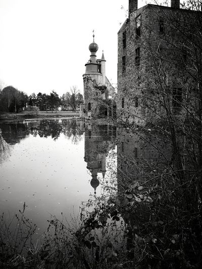 My best Water Reflections Castle Ruins Architecture Tower Outdoors Sky Architecture Reflection Water_collection Building ExteriorEyeEm Best Shots - Black + White Eye Em Nature Lover Exceptional Photographs Historical Building Built Structure Travel Destinations Castles Eyes For Photography Eyes4photography No People Day Tree Water Nature Clock