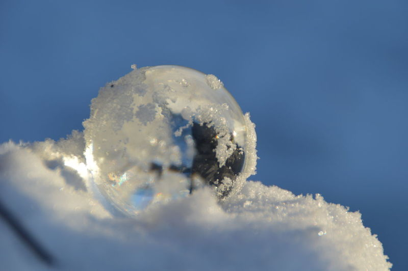 Close-up of ice on sea against blue sky