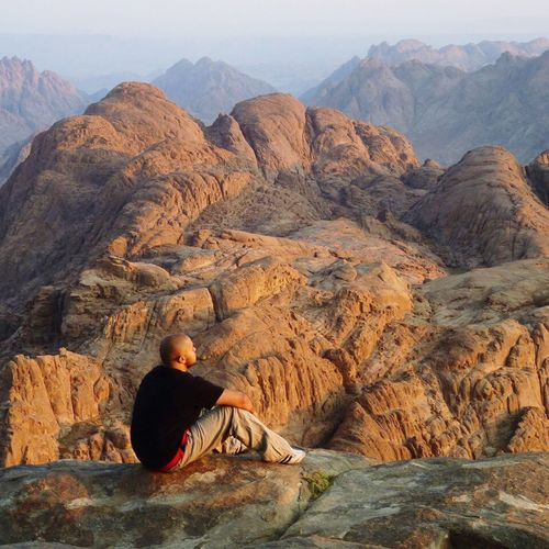 Rock - Object One Person Mountain Beauty In Nature Outdoors Real People Nature Hiking Landscape People Sinai Egypt