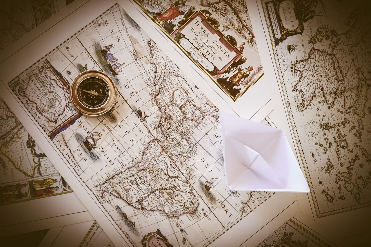 map, paper, high angle view, page, indoors, no people, directly above, close-up, day