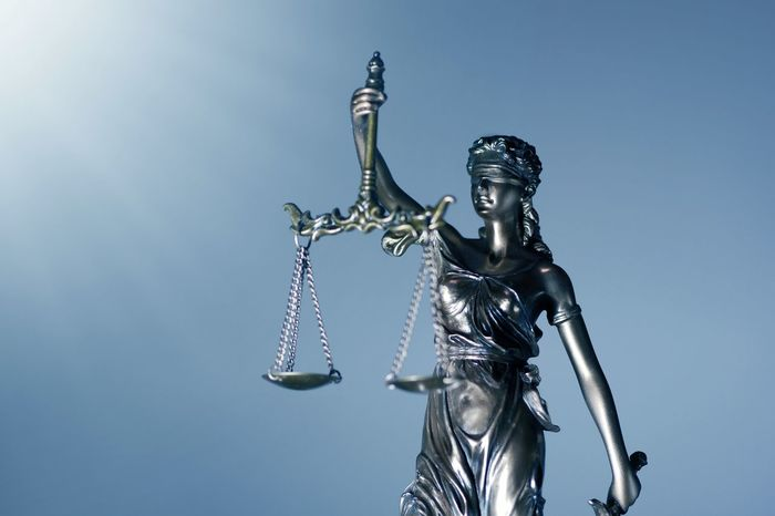 low angle view of Lady justice. Ballance Justice - Concept Justizia Lady Justice Architecture Art And Craft Blind Folded Clear Sky Copy Space Creativity Female Likeness Human Representation Judgement Justice Low Angle View Lumix Lumixg81 Lybra Metal No People Pan Representation Sculpture Silver Colored Statue