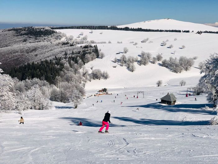 Skiers going down the slope with view of snowcapped mountains ahead on a day with clear blue sky Outdoors Frozen Trees Forest Idyllic Landscape Blue Sky Sunny Mountain Range Mountain Motion Resort Slope Skiing Skier Real People Snow Leisure Activity Sport Winter Mountain Cold Temperature Winter Sport Ski-wear Lifestyles Vacations Holiday Full Length People Day