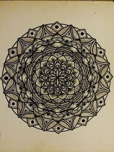 Hand drawn Mandalas Pattern Design Drawing Geometric Shape Handmade ArtWork Blackandwhite