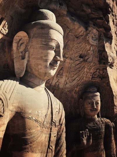 Yungang Grottoes in Datong, Shanxi Male Likeness Statue Religion Sculpture Human Representation Spirituality Day No People Outdoors Ancient Civilization King - Royal Person