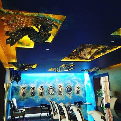 Royal Dinningroom Innovative Interiordesign Art Ceilingartwork Lightingcontrol Lutron
