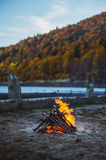 Autumn No People Outdoors Landscape Sunset Light Autumn Transylvania Fire Camp Fire Cold Morning Raw Nature Mountains Campfire Burning Fire - Natural Phenomenon Firewood Bonfire Camping Flame Maple Tree Maple Leaf