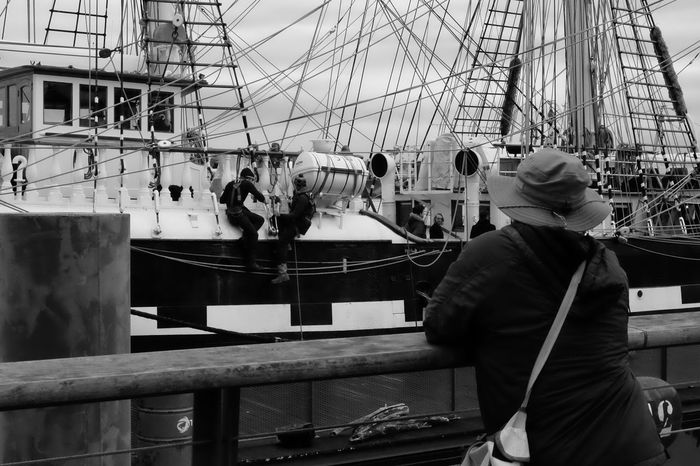 What are they doing ? Nautical Vessel Mode Of Transport Moored Transportation Real People Boat Ship Outdoors Mast Men Harbor Day Rigging Boat Deck Sailboat Water Dock Sailor People EyeEmBestPics Eye4photography  Photooftheday EyeEm Best Shots Picoftheday