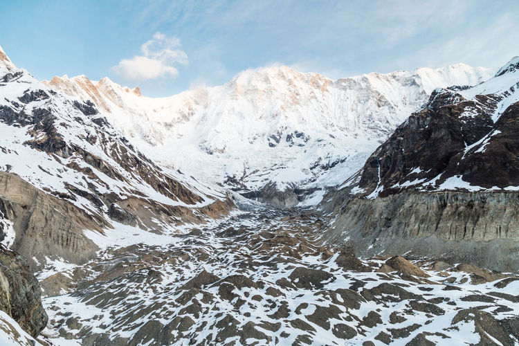 Mountain peaks and valley at Annapurna base camp, Nepal Annapurna Asia Background Beautiful Beauty Blue Climbing Cloud Forest Golden Hiking Himalaya Himalayas Hiunchuli Landscape Morning Mountain Nature Nepal Peak Ray Of Light Scenery Sky Snow South Summit Sunrise Tibet Tourism Travel Trekking Valley View Whit
