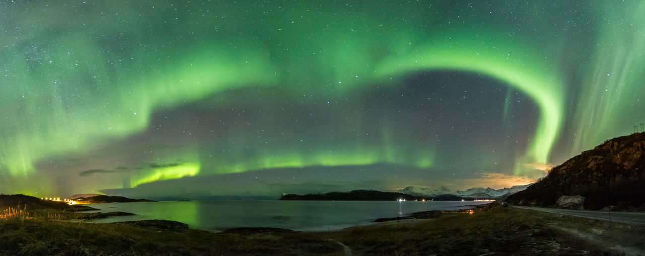 Aurora Aurora Borealis Northern Lights Norway Panorama Panoramic Panoramic Northern Lights Sommaroy Astronomy Beauty In Nature Green Color Nature Night Pano Scenics Sky Sommarøy Troms Water