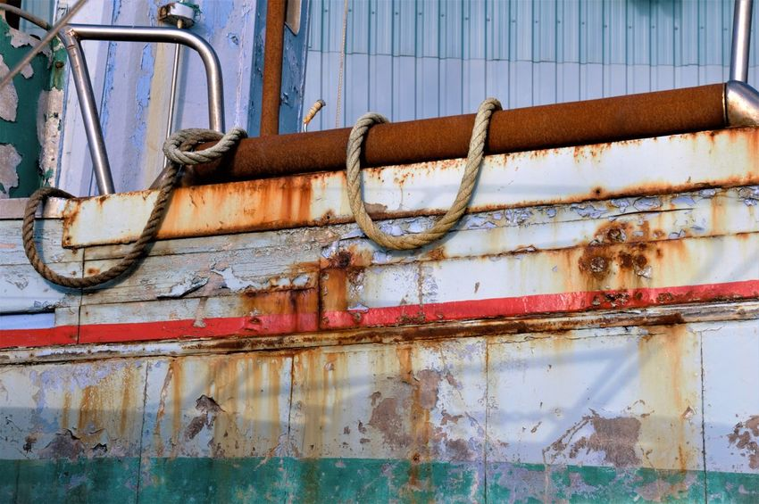 Bad Condition Close-up Corrugated Iron Damaged Day Fishing Boat Metal No People Outdoors Rusty Weathered