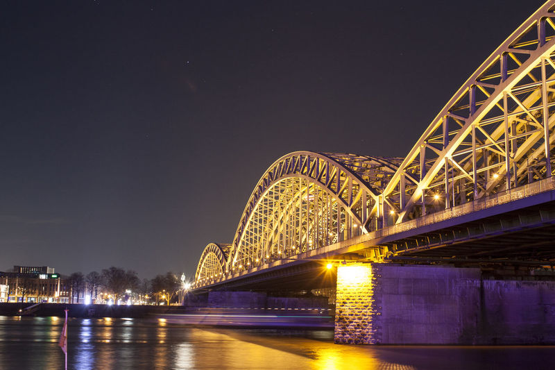 Arch Bridge Bridge Bridge - Man Made Structure Cologne Famous Place Hohenzollernbrücke Illumination Köln Night Photography NRW
