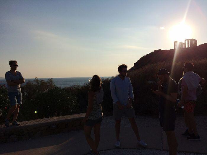 Sun shining over sea