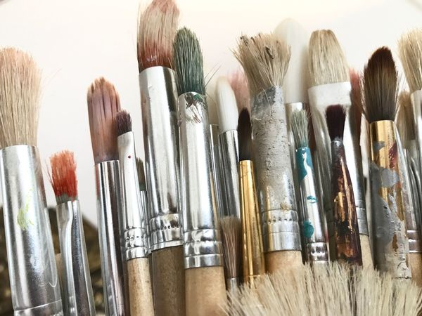 Make-up Brush Paintbrush Indoors  Choice Variation Palette Close-up No People Make-up Day Mijn Foto Painting Brushes Bruches White Background Painting Studio Shot