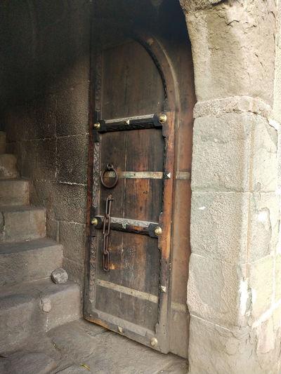 Close-up of old door of building