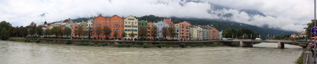 Panoramic view Innsbruck Landscape Panorama Panoramic Panoramic Photography Residential Structure River Riverside Waterfront