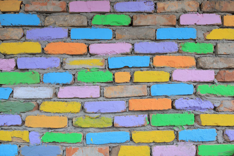 multicolored brick wall texture material Multicolored Bricks Wall Texture Concrete Background Blocks Brickwork  Pattern Painted Color Colorful Blue Green Yellow Brick Cement Clay Abstract Art Backdrop Stone Aged Old Retro Rough Stones Row Stonewall Tile Tiled Urban Vintage Wallpaper Surface Material Building Architecture Construction Effects Design Dirty Grunge Weathered Textured  Concept Creative Full Frame Built Structure