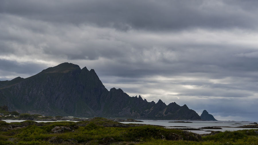 the amazing landscape of the Lofoten Islands Cloud - Sky Water Sky Sea Scenics - Nature Beauty In Nature Mountain Nature Tranquil Scene No People Land Tranquility Environment Overcast Landscape Outdoors Day Non-urban Scene Lofoten Islands Travel Landscape_Collection Exceptional Photographs EyeEm Best Shots EyeEm Nature Lover EyeEm Gallery The Great Outdoors - 2019 EyeEm Awards
