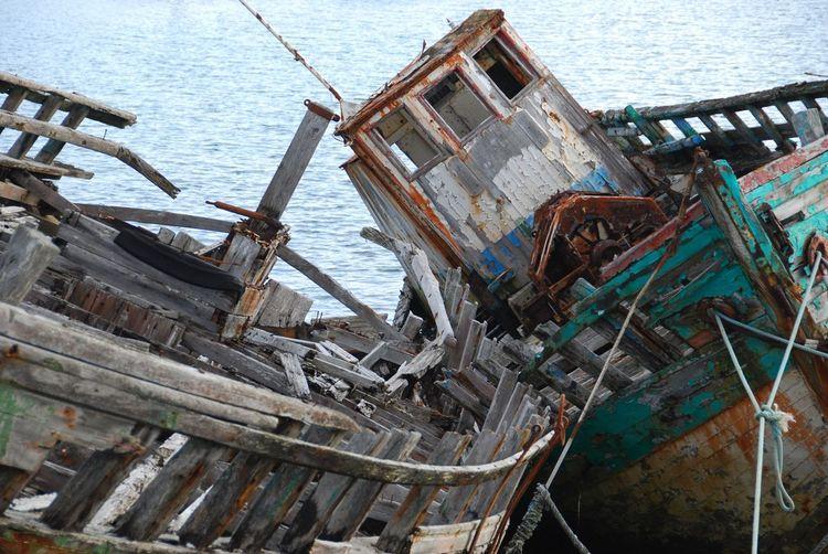 Shipwreck in lake