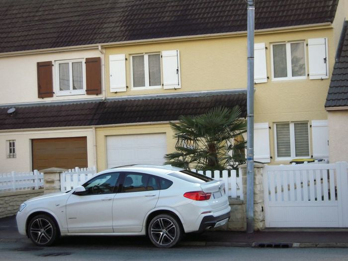 Family Car Father Car BMW X4 White Car Motor Vehicle Symetrical Houses Residential District Garage Stationary Street Day X4 Street Photography BmwXdrive Automotive Theme In France, Europa