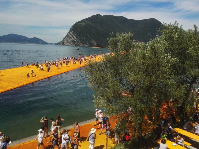Be. Ready. Large Group Of People Outdoors Water Tree People The Floating Piers The Floating Piers By Christo Lago D'Iseo Doriano Summer Travel Destinations Tourism Lake Hawei P8 EyeEmNewHere