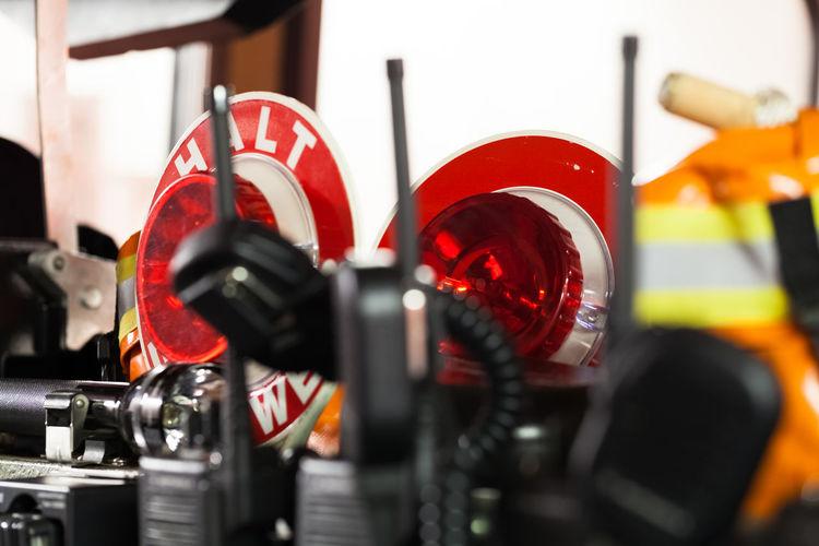 Close-up of black walkie-talkies