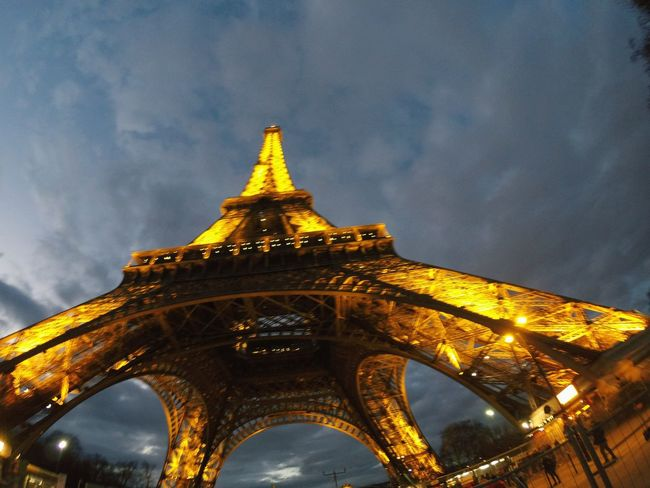 Clouds Gopro Photography Paris France Tour Eiffel POV Travel Travel Destinations Parisjet'aime Monument Lights Details Architecture Travel Destinations History Gold Colored Arch Night Travel Business Finance And Industry No People Built Structure Outdoors Building Exterior Cityscape City Illuminated Sky