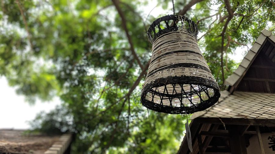 Low angle view of lantern and traditional building