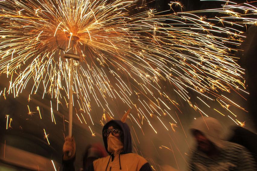 Barcelona Correfogs Catalonia CataloniaExperience Fireworks Light Night Lights Correfoc Correfocs Demons Fire Party Firework Firework - Man Made Object Merce Correfocs Movement Party Spanish Culture Spanish Experience