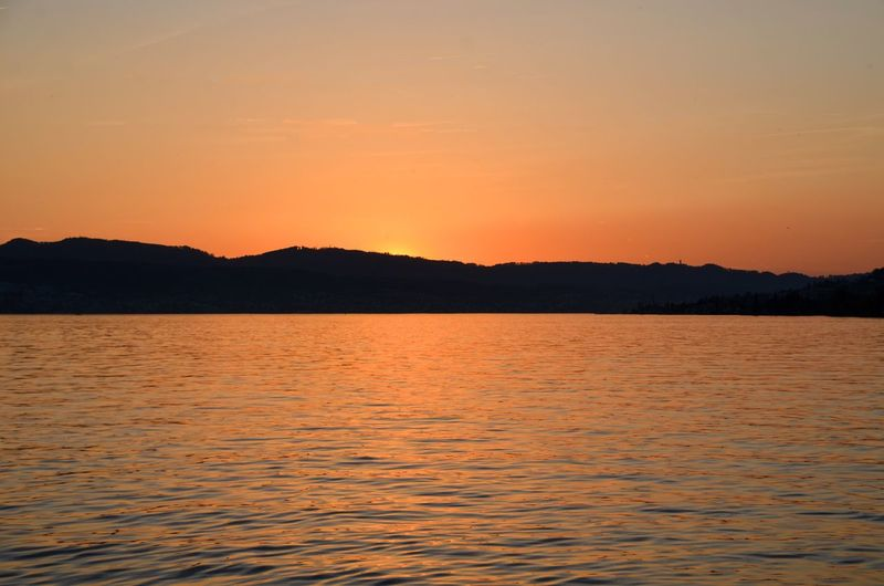 Sunset Over Lake Zurich Calm Water Calmness Zürichsee Lake Zürich Lake Lakeview Männedorf Sunset Sky Beauty In Nature Water Orange Color Tranquility Scenics - Nature Tranquil Scene Nature Idyllic Rippled Outdoors Waterfront Silhouette