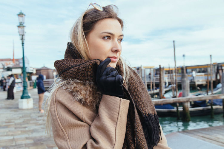 Ana Paula Tondin in Venice, Italy Adult Adults Only Beautiful Woman Beauty City Close-up Day Focus On Foreground One Person One Young Woman Only Outdoors People Portrait Real People Sky Standing Warm Clothing Young Adult Young Women