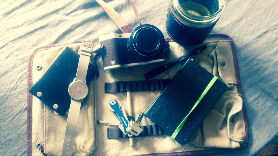 Journey No People Packing My Suitcase Ready To Go Retro Styled Traveling Kit Traveling Photography Wallet And Watch