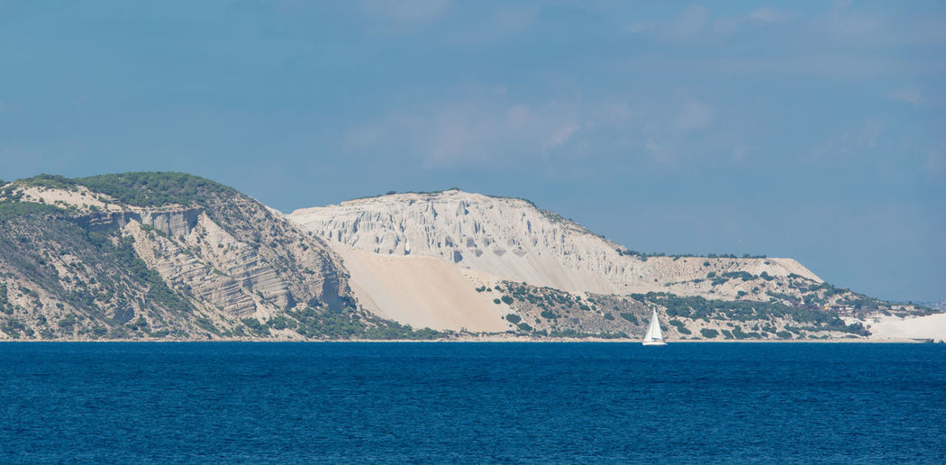 Pumice stone mining on the island of gyali between the islands of kos and the volcanic island