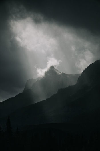 Low angle view of mountain against cloudy sky