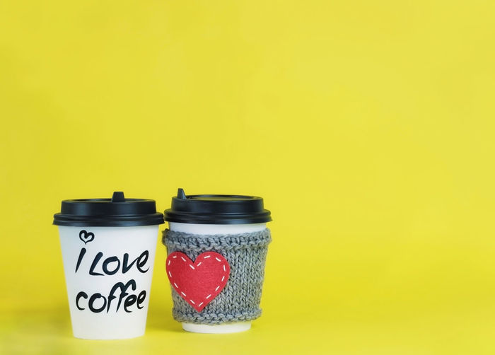 Copy Space Container Yellow Background Still Life Yellow No People Love Red Heart Coffee Emotion Positive Emotion Paper Cup Cozy
