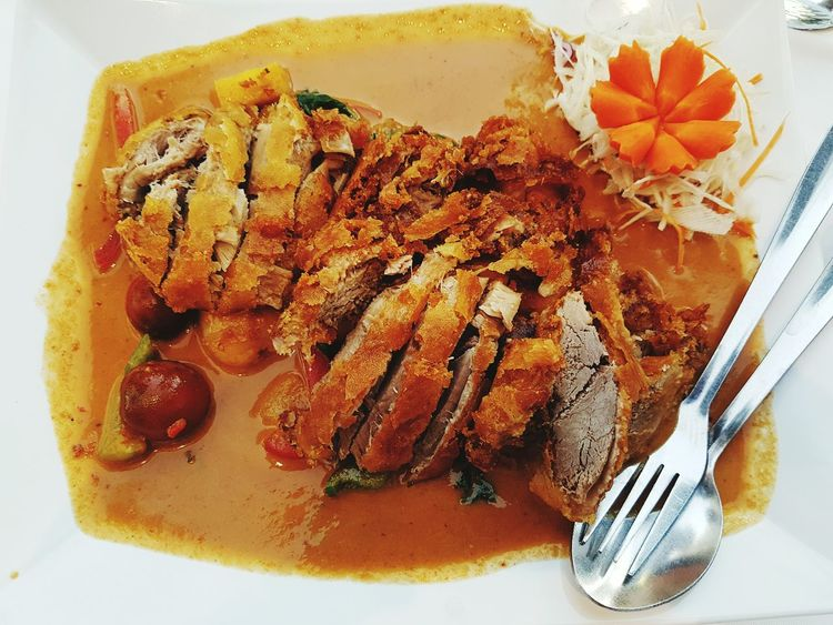 Food And Drink Indoors  High Angle View Close-up Freshness Creativity No People Red Curry Thai Thai Red Curry Duck