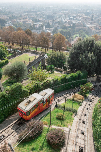 High angle view of train in city