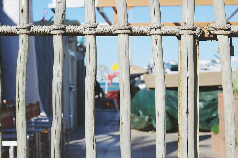 Colors And Patterns Focus On Foreground Day Sea Sky Outdoors No People Gate Wooden Gate Natural Materials Seaside