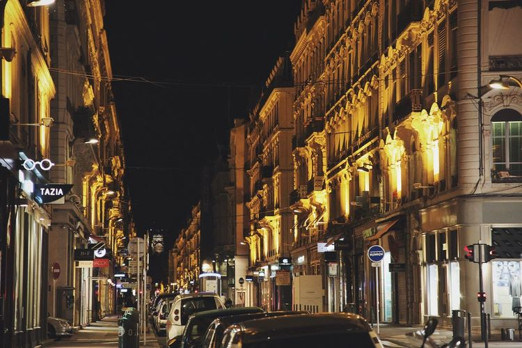 Streets of Lyon Luxury France Lyon Streetphotography Architecture Built Structure Building Exterior City Night Illuminated The Way Forward