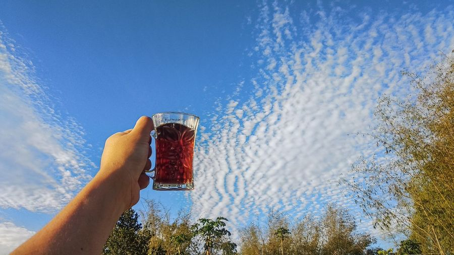 Hand holding glass of water against blue sky